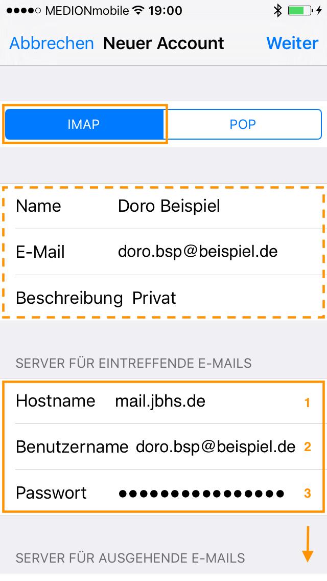 IMAP auswählen. Die Werte im gestrichelten Rahmen wurden in der Regel aus dem vorherigen Schritt übernommen. Bei Hostname (1) wird mail.jbhs.de als Server für eintreffende E-Mails und die E-Mail-Adresse als Benutzername (2) eingegeben. Bei (3) wird das Passwort des E-Mail-Kontos eingegeben. Anschließend folgen weitere Eingaben im unteren Teil des Bildschirms!