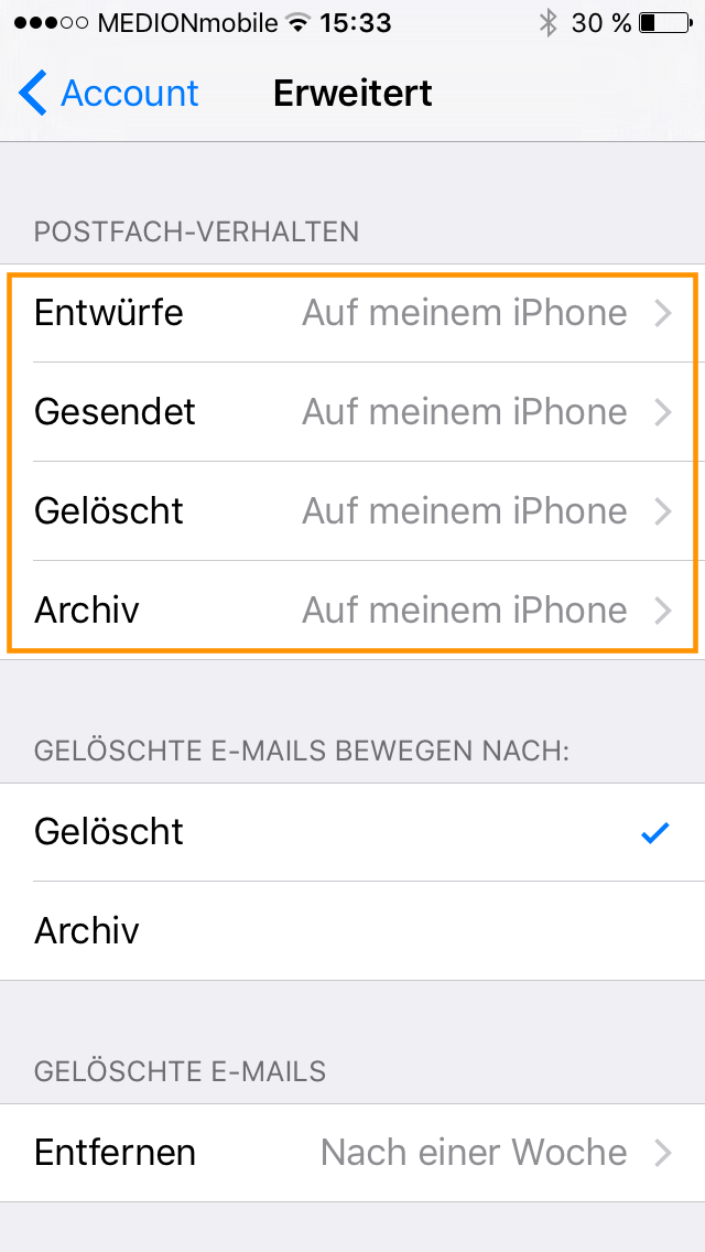 iOS E-Mail Standardornder